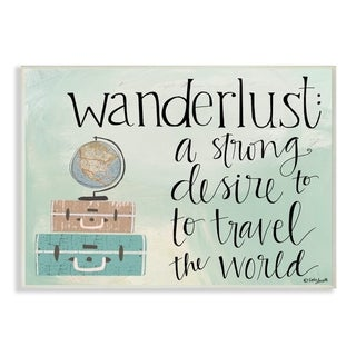 The Stupell Home Decor Aqua Blue Wanderlust Definition Suitcases and Globe Drawing, 12 x 18, Proudly Made in USA - 12 x 18