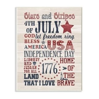The Stupell Home Decor Stars and Stripes USA Stenciled Typography Rustic Planked Look Sign, 10 x 15, Proudly Made in USA