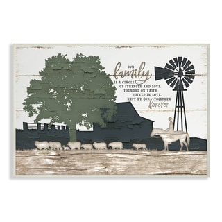 The Stupell Home Decor Our Family Is A Circle of Strength Farm Homestead Silhouette, 10 x 15, Proudly Made in USA - 10 x 15