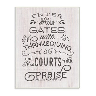 The Stupell Home Decor Enter His Gates Rustic Black and White Wood Look Typography, 12 x 18, Proudly Made in USA - 12 x 18