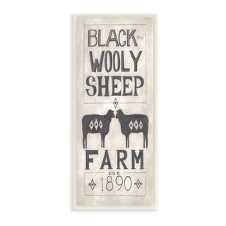 The Stupell Home Decor Grey and White Rustic Wooly Sheep Farm Vintage Sign, 7 x 17, Proudly Made in USA - 7 x 17