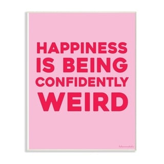 The Stupell Home Decor Happiness Is Being Confidently Weird Red Pink Neon Typography, 12 x 18, Proudly Made in USA - 12 x 18