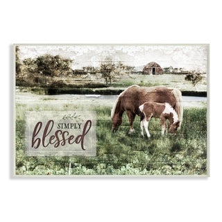 The Stupell Home Decor Simply Blessed Distressed Farm Yard Horses Photograph, 12 x 18, Proudly Made in USA - 12 x 18