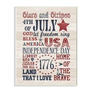 The Stupell Home Decor Stars and Stripes USA Stenciled Typography Rustic Planked Look Sign, 12 x 18, Proudly Made in USA
