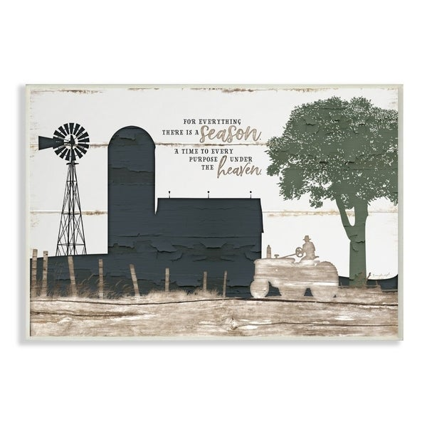 The Stupell Home Decor For Everything There Is A Season Farm Homestead Silhouette, 12 x 18, Proudly Made in USA - 12 x 18