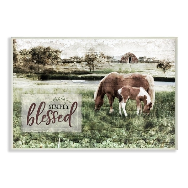 The Stupell Home Decor Simply Blessed Distressed Farm Yard Horses Photograph, 10 x 15, Proudly Made in USA - 10 x 15
