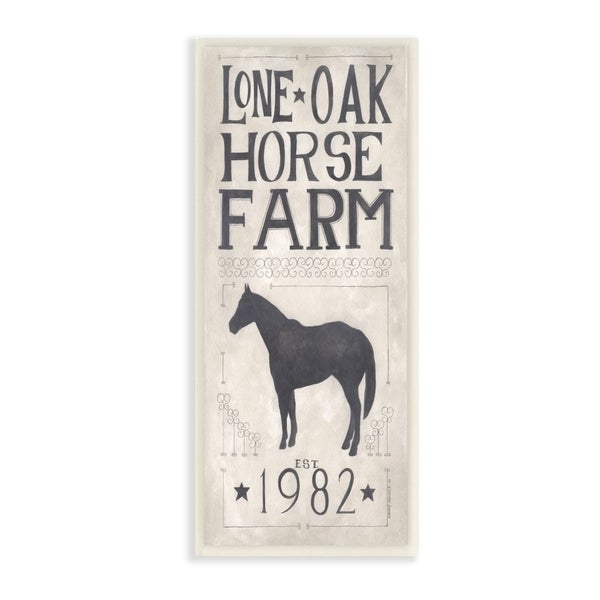 The Stupell Home Decor Grey and White Rustic Lone Oak Horse Farm Vintage Sign, 7 x 17, Proudly Made in USA - 7 x 17