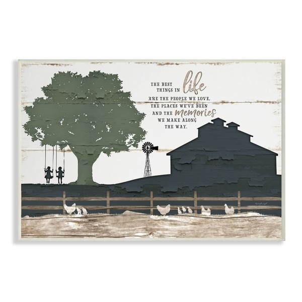 The Stupell Home Decor The Best Things In Life Are The People We Love Farm Homestead Silhouette, 10 x 15, Proudly Made in USA