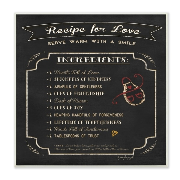 The Stupell Home Decor Black and White Chalkboard Look Recipe for Love List Apron Doodle, 12 x 12, Proudly Made in USA - 12 x 12