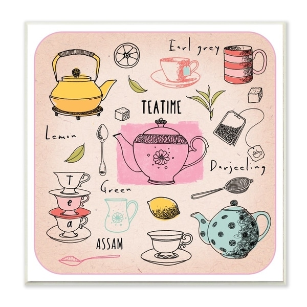 The Stupell Home Decor Teatime Tea Lover Cups Spoons Pots Pastel Line Drawing Doodles, 12 x 12, Proudly Made in USA - 12 x 12