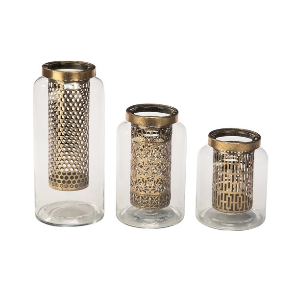Gold Glass Candle Holders