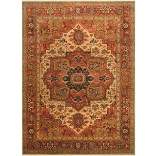 Handmade One-of-a-Kind Vegetable Dye Serapi Wool Rug (India) - 10' x 13'6