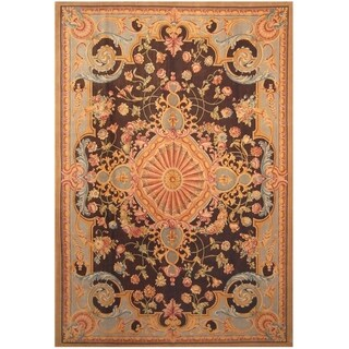 Handmade One-of-a-Kind Vegetable Dye Aubusson Wool Rug (India) - 10' x 14'