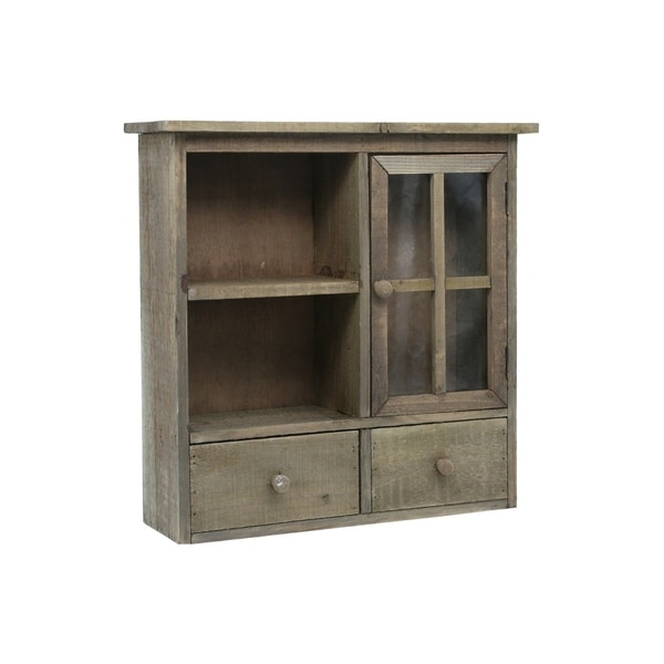UTC35149: Wood Rectangle Shelf with Metal Back Hangers Natural Finish Brown