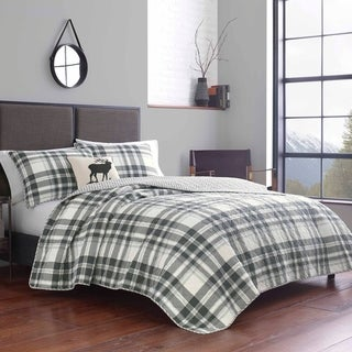 Link to Eddie Bauer Coal Creek Plaid  White Quilt Set Similar Items in Quilts & Coverlets