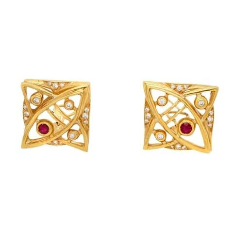 18K Yellow Gold Vintage FreeForm Clip-On Earrings (F-G,VS1-VS2)