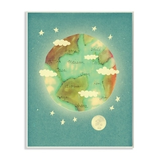 The Kids Room By Stupell Earth is Home Glowing Planet Blue Moon and Stars Illustration, 12 x 18, Proudly Made in USA - 12 x 18