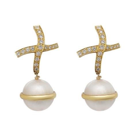 "18K Yellow Gold Diamond Pearl ""X"" Drop Earrings (G-H,VS1-VS2)"