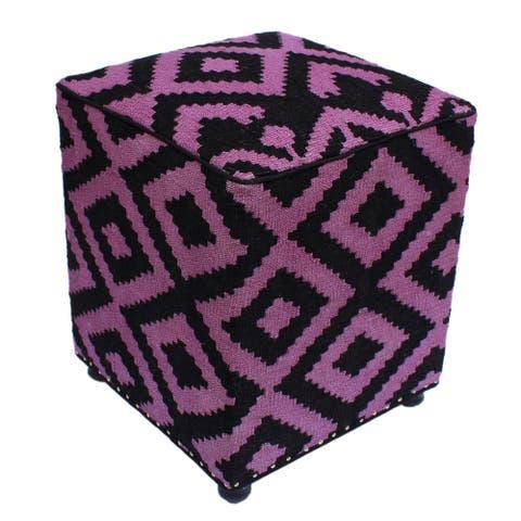 "Sharpe Black/Purple Handmade Kilim Upholstered Ottoman 16""x16""x20"""