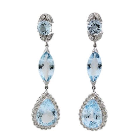 18 Karat White Gold Aquamarine Teardrop Estate Earrings (H-I,VS1-VS2)