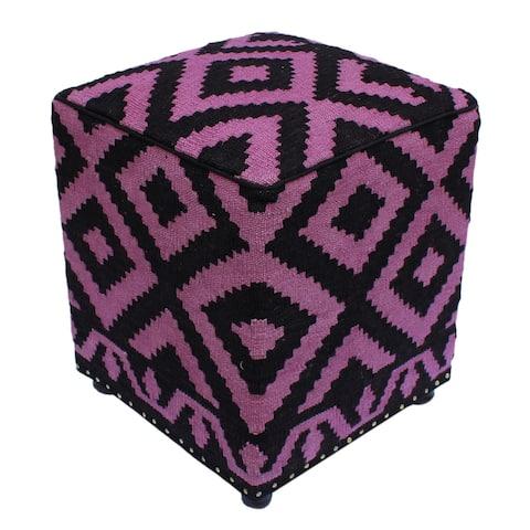 "Shapiro Black/Purple Handmade Kilim Upholstered Ottoman 16""x16""x20"""