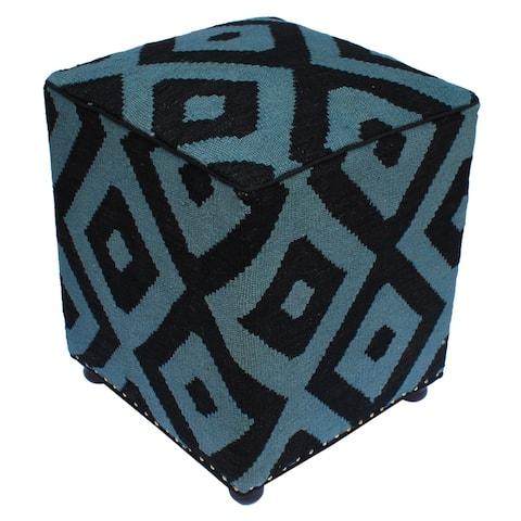 "Schwartz Black/Grey Handmade Kilim Upholstered Ottoman 16""x16""x20"""