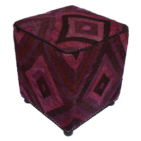 Arshs Fine Rugs Sell Handmade Purple/Dark Brown Kilim Upholstered Ottoman