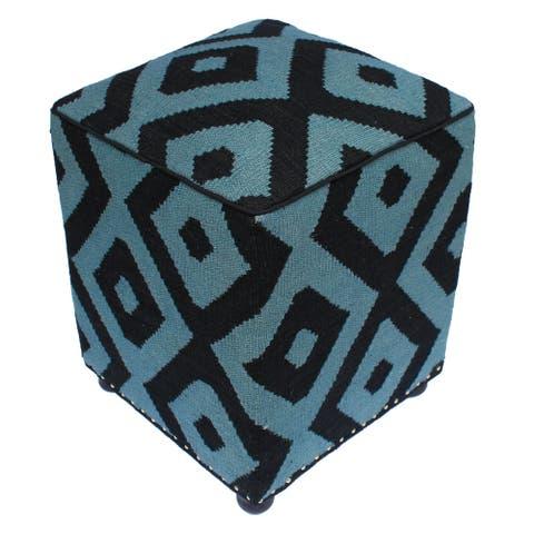 "Schumach Black/Grey Handmade Kilim Upholstered Ottoman 16""x16""x20"""