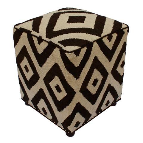 Arshs Fine Rugs Sheridan Ivory/Black Handmade Kilim Upholstered Ottoman