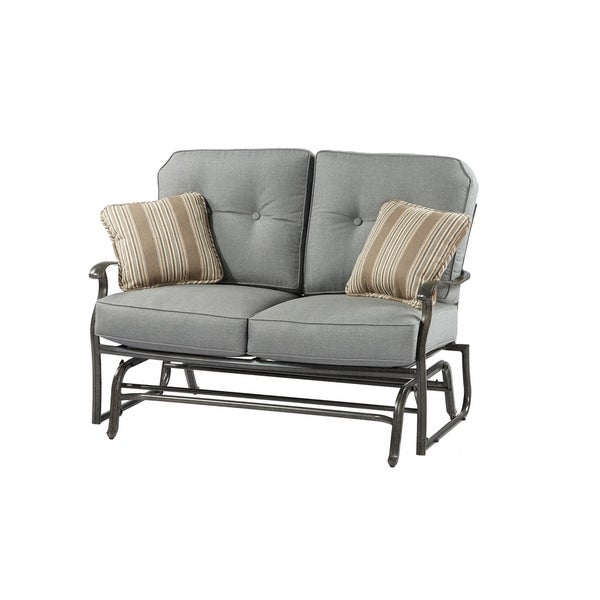 Oakland Living Indoor Black And White Ladder Back 5 Piece: Shop Agio Madison Loveseat Glider With Cushions And 2