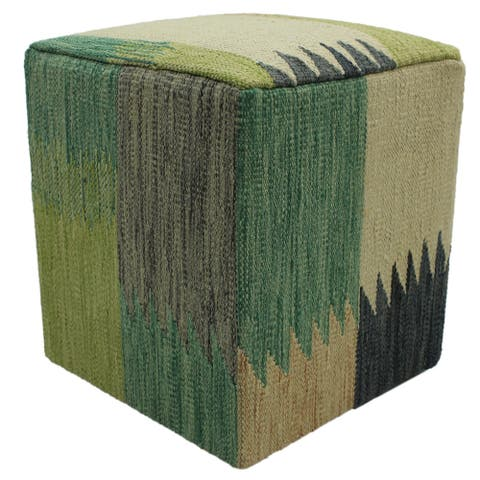 Arshs Fine Rugs Hammonds Handmade Ivory/Tan Kilim Upholstered Ottoman