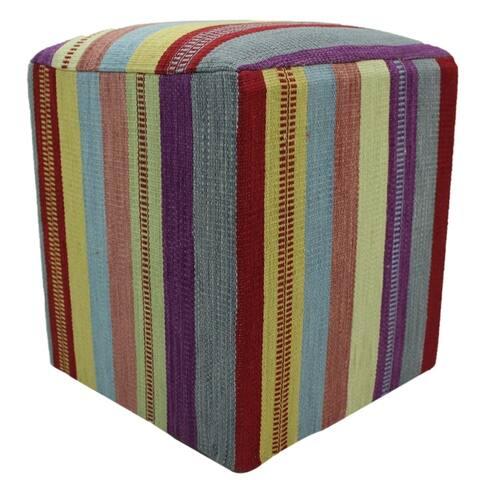 Hankins Kilim Purple/Dark-red Handmade Upholstered Ottoman - 15 x 15 x 18