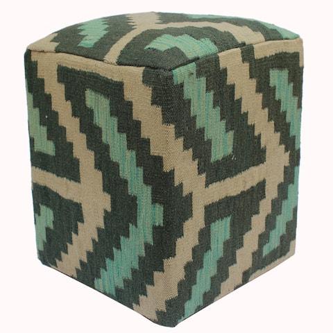 Arshs Fine Rugs Hartman Green/Ivory Handmade Kilim Upholstered Ottoman