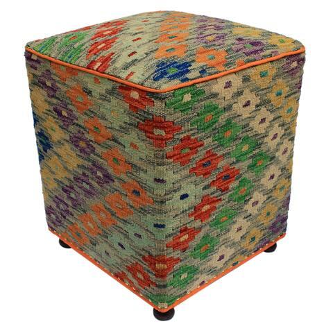 Arshs Fine Rugs Hall Rust/Purple Handmade Kilim Upholstered Ottoman