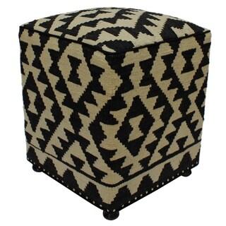 Arshs Fine Rugs Hawes Handmade Black/Ivory Kilim Upholstered Ottoman