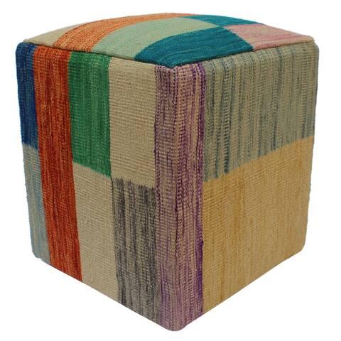 Arshs Fine Rugs Hidalgo Teal/Orange Handmade Kilim Upholstered Ottoman