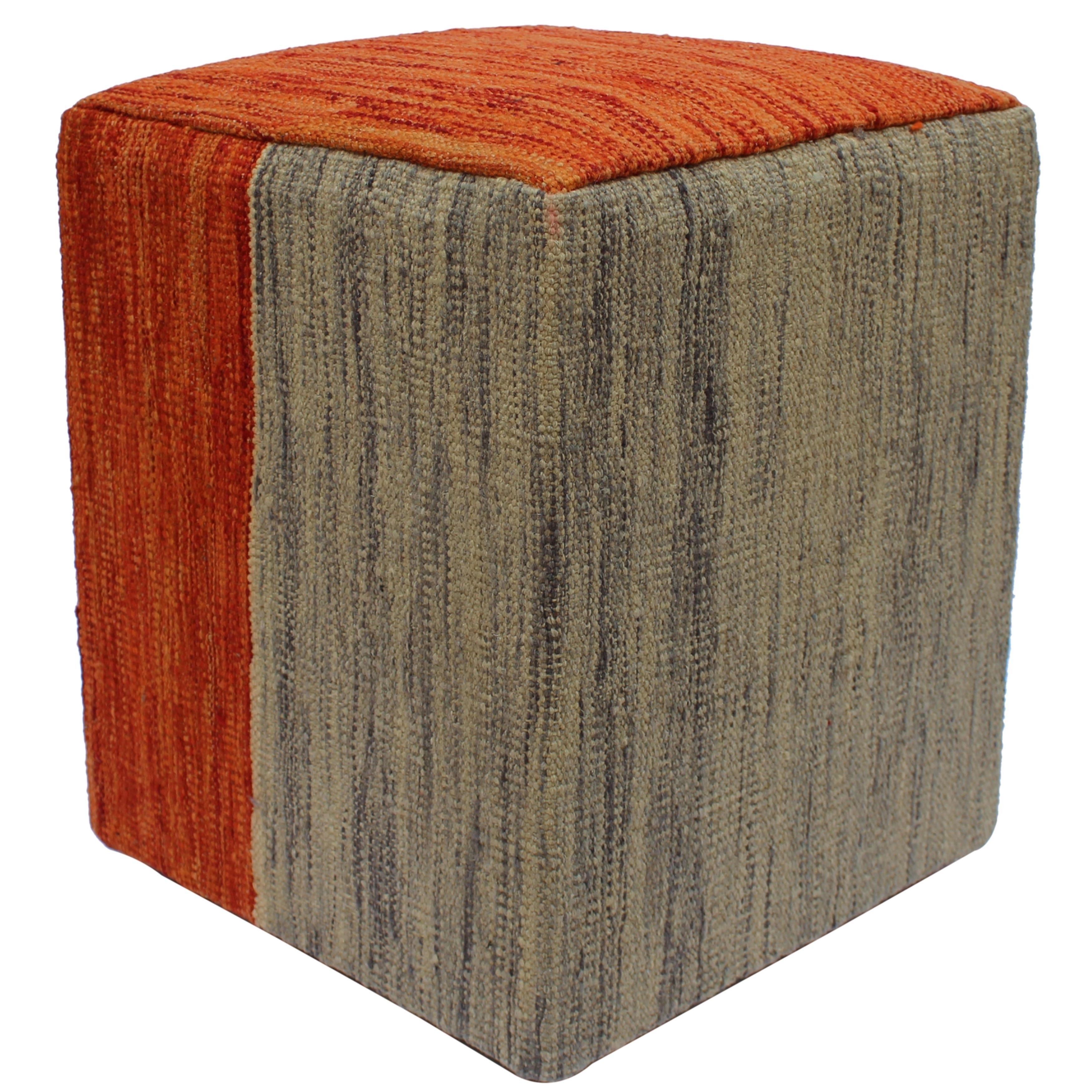the latest 3b896 5af7f Arshs Fine Rugs High Orange/Grey Handmade Kilim Upholstered Ottoman