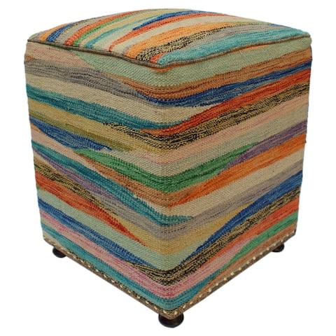Hatch Kilim Rust/Green Handmade Upholstered Ottoman - 16 x 16 x 20