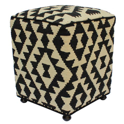 Arshs Fine Rugs Hargis Black/Ivory Handmade Kilim Upholstered Ottoman
