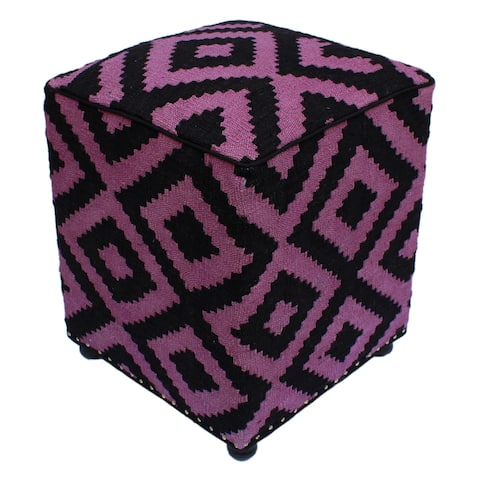 "Sharp Black/Purple Handmade Kilim Upholstered Ottoman 16""x16""x20"""
