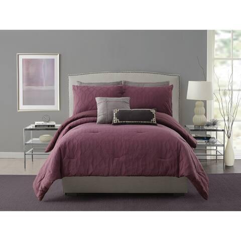 Ayesha Curry Aubergine Matelasse Comforter Set King Size (As Is Item)