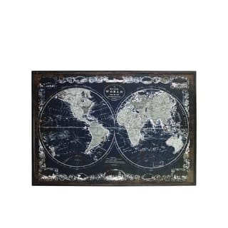 """UTC39340: Wood Rectangle Panel Print of """"Old World Map"""" with Frame Distressed Finish Black"""