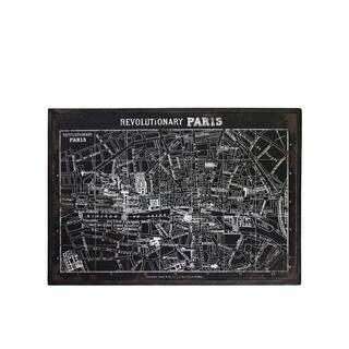 "UTC39338: Wood Rectangle Panel Print of ""Revolutionary Paris"" with Frame Distressed Finish Black"