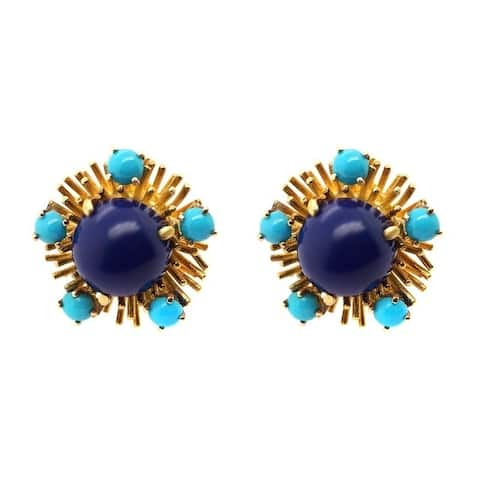 18K Yellow Gold Lapis and Turquoise 1950's Cluster Earrings