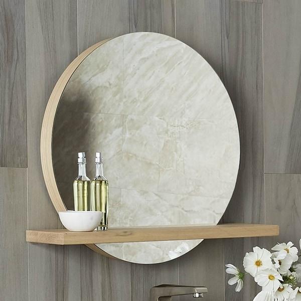 """Solace 22"""" Mirror and Shelf in Sunrise Oak"""