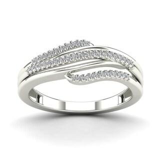 AALILLY 10k White Gold 1/6ct TDW Diamond Fashion Ring (H-I, I1-I2)