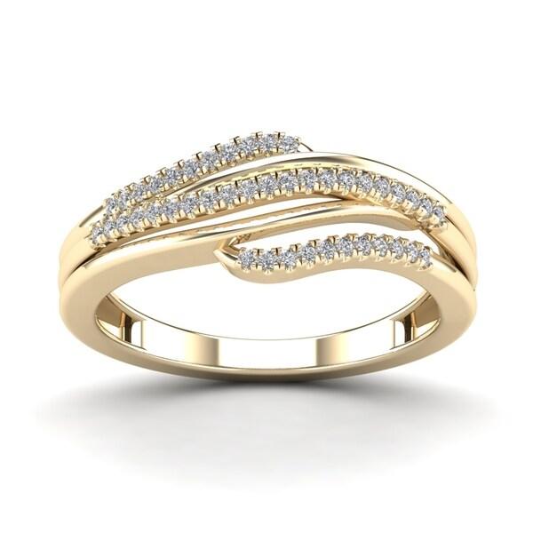 AALILLY 10k Yerllow Gold 1/6ct TDW Diamond Fashion Ring (H-I, I1-I2)