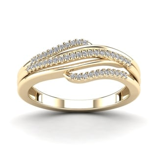 AALILLY 10k Yerllow Gold 1/6ct TDW Diamond Fashion Ring (H-I, I1-I2)