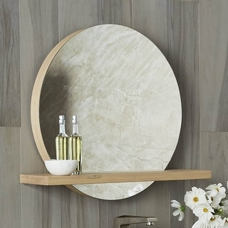 "Solace 28"" Mirror and Shelf in Sunrise Oak"