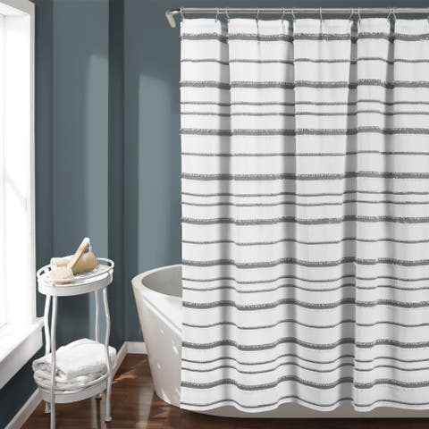 Lush Decor Stripe Clip Jacquard Shower Curtain